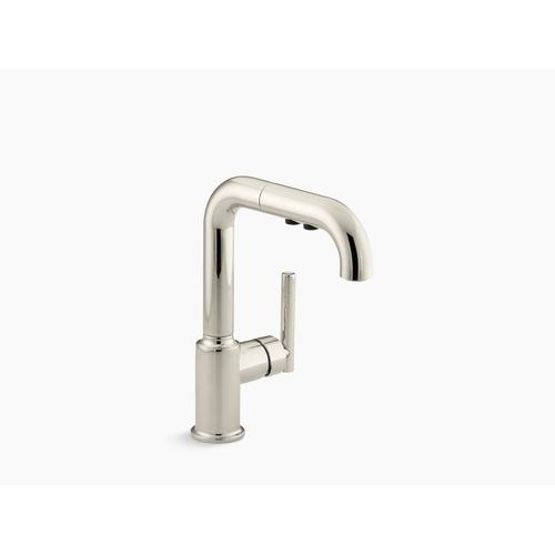 """Vibrant Polished Nickel Single-hole Kitchen Sink Faucet With 7"""" Pull-out Spout"""