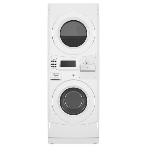 Whirlpool - Commercial Gas Stack Washer/Dryer, Coin Equipped White