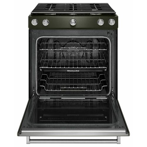 KitchenAid - 30-Inch 5-Burner Gas Slide-In Convection Range - Black Stainless Steel with PrintShield™ Finish