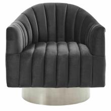 See Details - Cortina Swivel Accent Chair in Grey/Silver