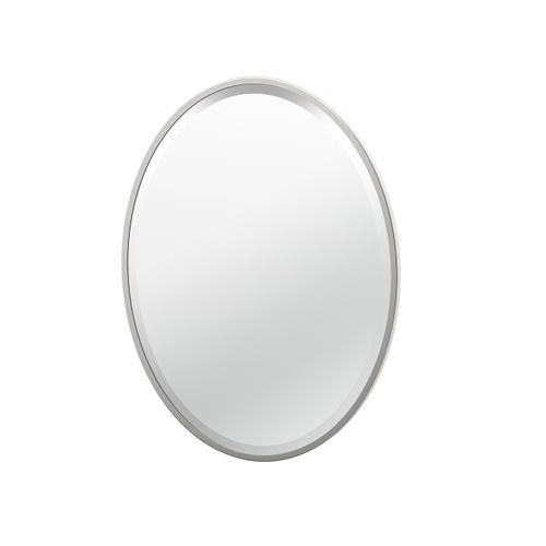 Flush Mount Framed Oval Mirror in Chrome