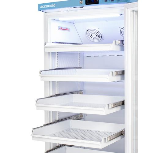 Performance Series Pharma-vac 15 CU.FT. Upright Glass Door Commercial All-refrigerator for the Display and Refrigeration of Vaccines With Six Ventilated Removable Drawers