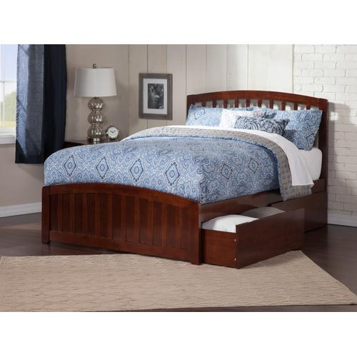 Richmond Queen Bed with Matching Foot Board with 2 Urban Bed Drawers in Walnut