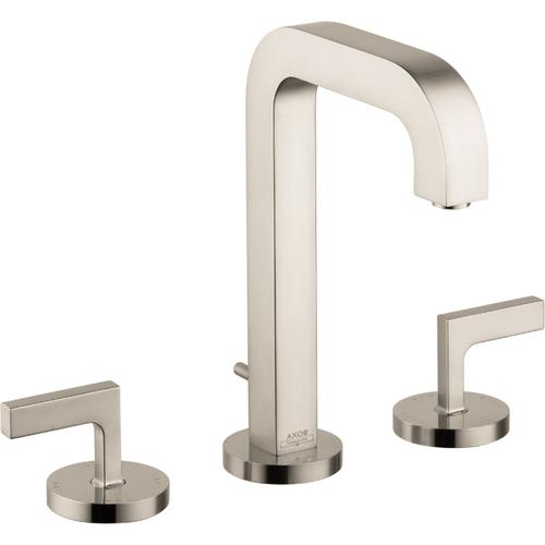 Brushed Nickel Widespread Faucet 170 with Lever Handles and Pop-Up Drain, 1.2 GPM
