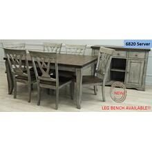 See Details - Solid Wood Table w/Light Grey Finish & Rustic Brown Top
