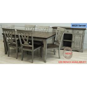 Solid Wood Table w/Light Grey Finish & Rustic Brown Top