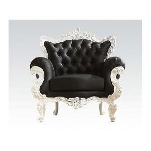Acme Furniture Inc - Accent Chair, Wh Frame/bk Pu