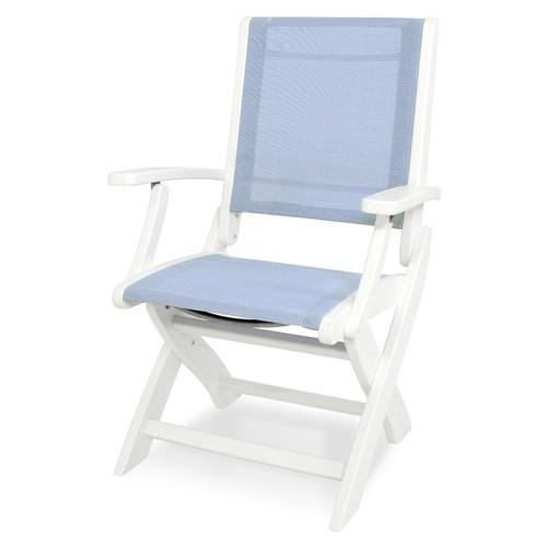 White & Poolside Coastal Folding Chair