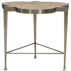 Santa Barbara Chairside Table in Sandstone (385), Vintage Nickel Metal (385)