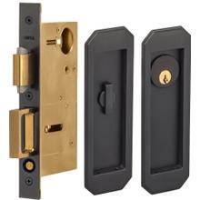 Pocket Door Lock with Traditional Trim featuring Turnpiece and Keyed Entry in (US10B Black, Oil-Rubbed, Lacquered)
