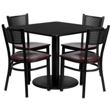 36'' Square Black Laminate Table Set with 4 Grid Back Metal Chairs - Mahogany Wood Seat