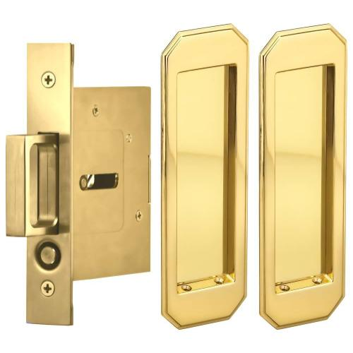 Product Image - Passage Pocket Door Lock with Traditional Rectangular Trim featuring Mortise Edge Pull in (US3 Polished Brass, Lacquered)