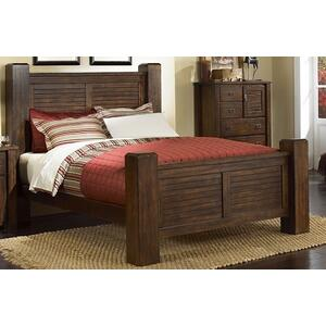 6/6 King Post Bed - Mesquite Pine Finish