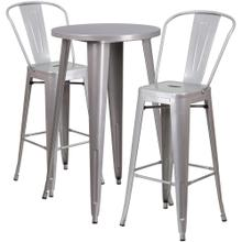 24'' Round Silver Metal Indoor-Outdoor Bar Table Set with 2 Cafe Stools