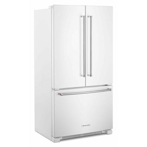 KitchenAid - 20 cu. ft. 36-Inch Width Counter-Depth French Door Refrigerator with Interior Dispense - White