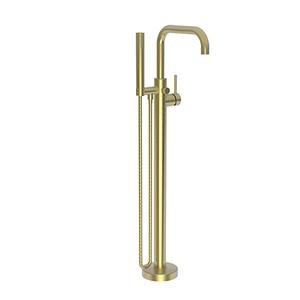 Satin Brass - PVD Exposed Tub and Hand Shower Set - Free Standing