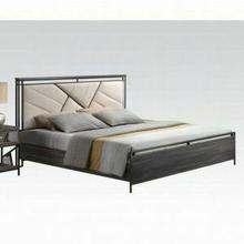 ACME Adrianna California King Bed - 20944CK - Cream Cotton Fabric & Walnut