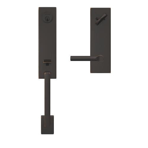 Custom Century 3/4 Trim Single Cylinder Handleset with Broadway Lever - Bright Chrome