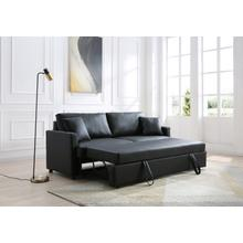 See Details - Rebecca Sofa with Pull-Out Bed, Black PU