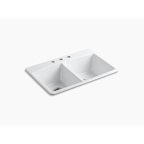 "Black Black 33"" X 22"" X 9-5/8"" Top-mount Double-equal Kitchen Sink"