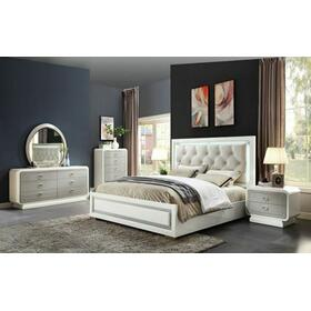 ACME Allendale Queen Bed - 20200Q - Beige PU & Ivory High Gloss