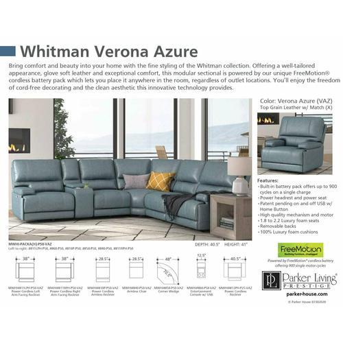 WHITMAN - VERONA AZURE - Powered By FreeMotion Cordless Armless Chair