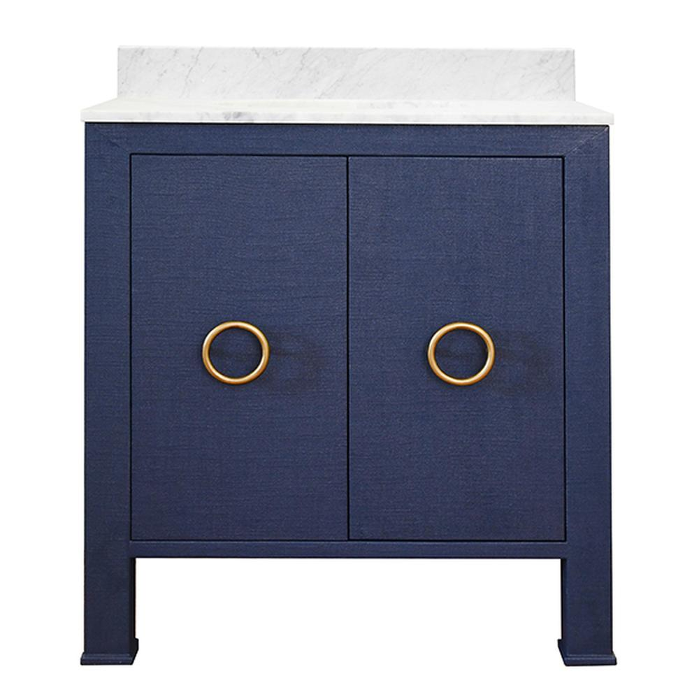 See Details - You'll Want To Design Your Bath or Powder Room Around the High Style Material Palette of Our Blanche Bath Vanity. Dressed In Textured Navy Linen and Antique Brass Ring Pulls, Blanche Is an Artful Combination of Color and Texture. Includes Luminous White Carrara Marble Top & Backsplash Plus A White Porcelain Sink.