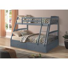 Miller Twin over Full Bunkbed with Storage Drawers, Gray
