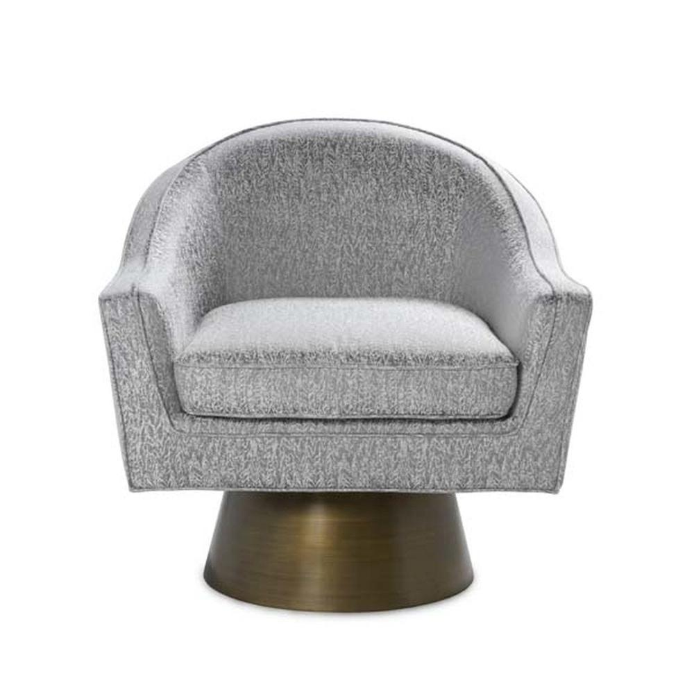 This Bold, Barrel Back Swivel Chair Will Steal the Show. Offered In A Gorgeous Smoke Grey Patterned Fabric With A Painted Brushed Bronze Base, Our Dominic Occasional Chair Is Perfect for Your Deco Moderne or Mid Century Interior.