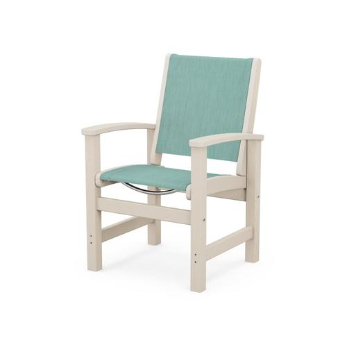 Coastal Dining Chair in Sand / Aquamarine Sling
