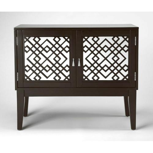 Glam meets Mid-century modern style with this eye-catching console cabinet. Crafted from rubberwood solids and wood products in a dark Chocolate finish, this stunning design features mirrored door fronts with geometric latticework complete with polished s