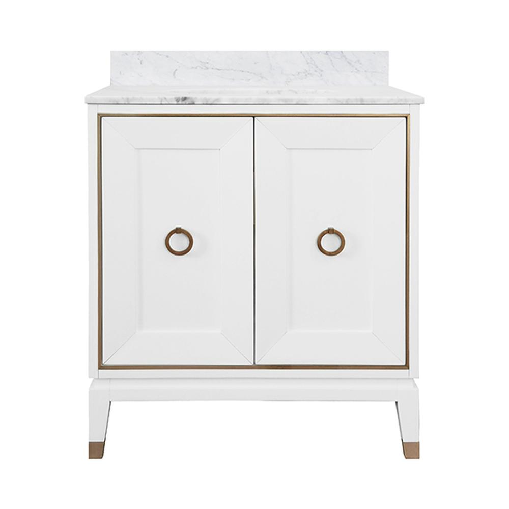 """See Details - The Larson Bath Vanity Brings Luxury To Your Master Bath or Powder Room. With A Matte White Lacquer Finish, Larson Offers A Fresh, Elevated Aesthetic. Each Cabinet Door Is Adorned With Antique Brass Border and Ring Hardware, and the Legs Include Coordinating Brass Ferrules as A Finishing Touch. Complete With A Luxurious White Carrara Marble Top, Backsplash, and White Porcelain Sink. Larson Is A Knockout! a 4"""" Tall, Full Length White Carrara Marble Backsplash Comes Detached for Your Custom Installation."""