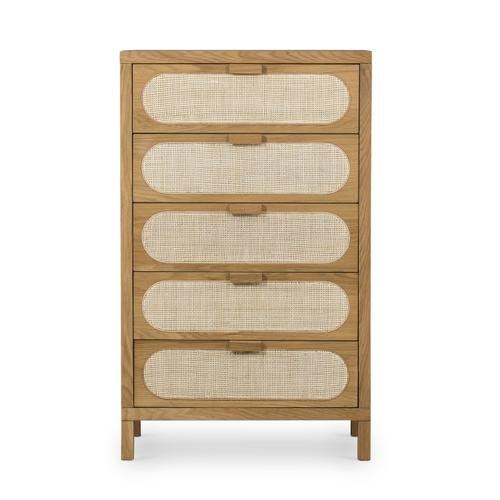 Allegra 5 Drawer Dresser-natural Cane