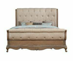 ACME Teagan Eastern King Bed, Fabric & Oak - 22087EK