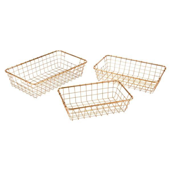 See Details - Set Of 3 Grid Baskets Gold