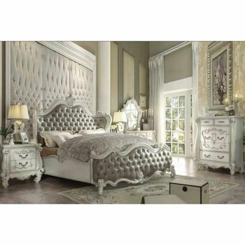 ACME Versailles Queen Bed - 21150Q - Vintage Gray PU & Bone White
