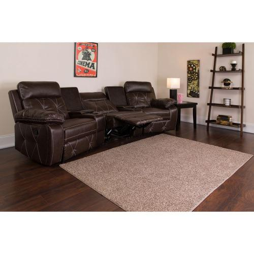 3-Seat Reclining Brown Leather Theater Seating Unit with Curved Cup Holders