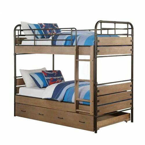ACME Adams Twin/Twin Bunk Bed & Trundle - 37760 - Antique Oak