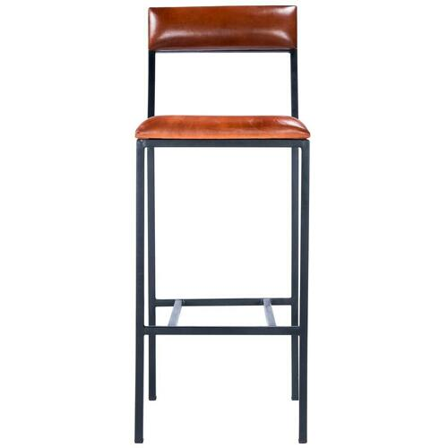 Add style to your space with this bar-height industrial inspired stool with padded seat and backrest! Crafted from leather and iron, this bar stool was designed with a built-in footrest and structural stretchers for added stability and comfort.
