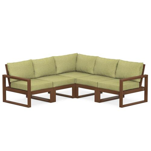 Polywood Furnishings - EDGE 5-Piece Modular Deep Seating Set in Teak / Chartreuse Boucle