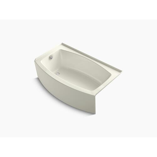 "Biscuit 60"" X 30-36"" Curved Alcove Bath With Bask Heated Surface and Left-hand Drain"