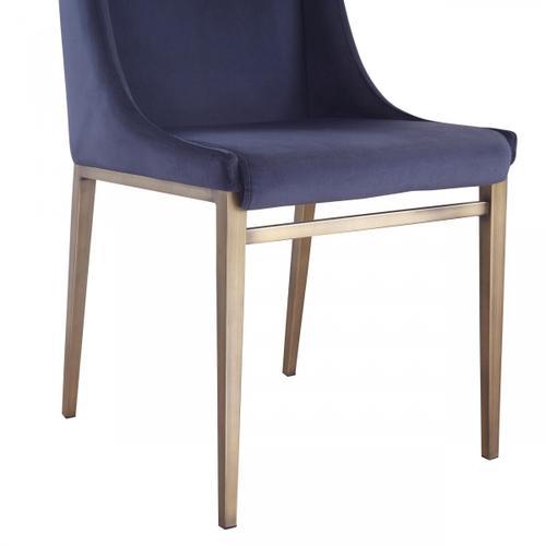 VIG Furniture - Modrest Mimi - Contemporary Blue Velvet & Antique Brass Dining Chair (Set of 2)