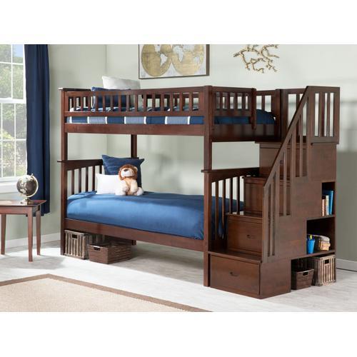 Atlantic Furniture - Columbia Staircase Bunk Bed Twin over Twin in Walnut