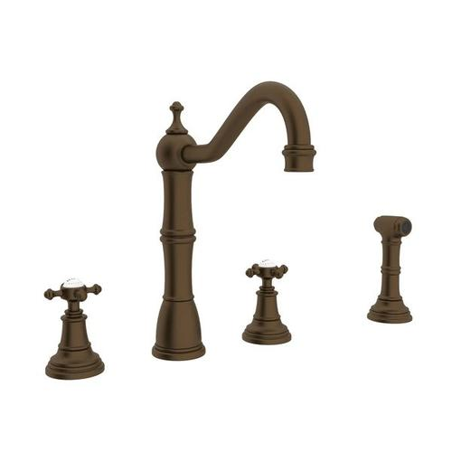 Edwardian 4-Hole Kitchen Faucet with Sidespray - English Bronze with Cross Handle