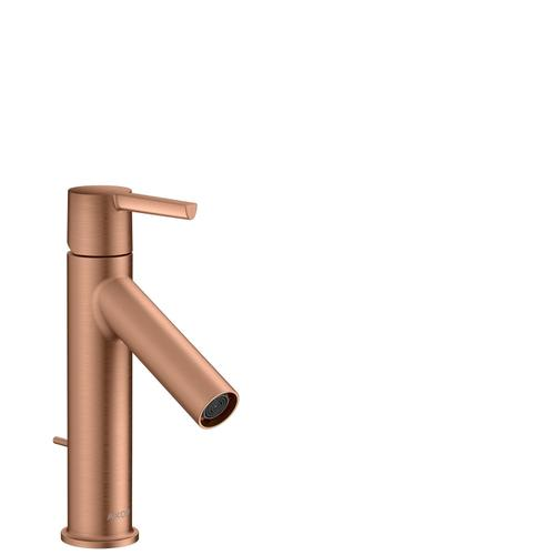 Brushed Red Gold Single lever basin mixer 100 CoolStart with lever handle and pop-up waste set