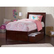 Portland Twin Bed with Matching Foot Board with 2 Urban Bed Drawers in Walnut
