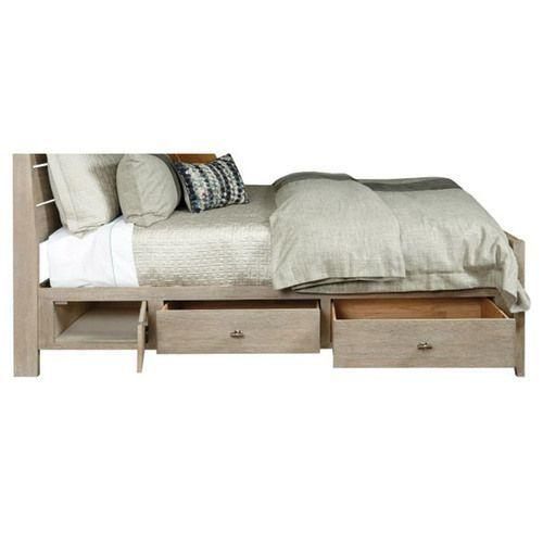 Symmetry Incline Queen Oak High Bed W/Storage Rails