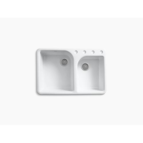 """Biscuit 33"""" X 22"""" X 10-5/8"""" Top-mount Large/medium, High/low Double-bowl Kitchen Sink With 4 Faucet Holes"""