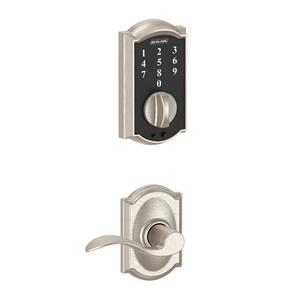 Schlage Touch Keyless Touchscreen Deadbolt with Camelot trim paired with Accent Lever with Camelot trim - Satin Nickel Product Image