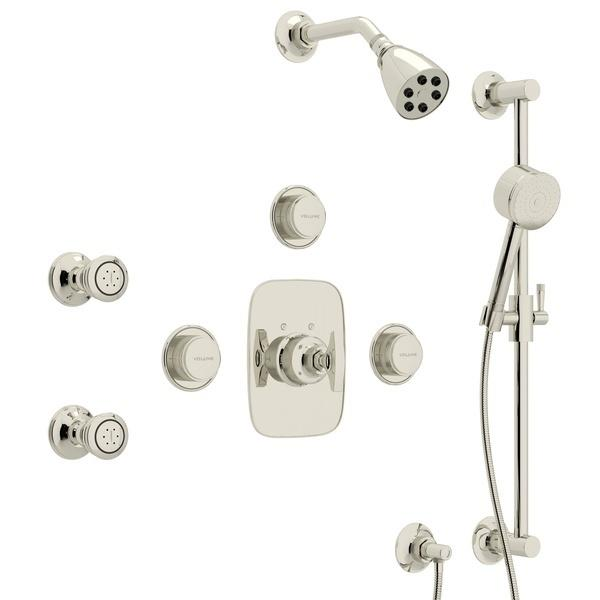 Polished Nickel GRACELINE THERMOSTATIC SHOWER PACKAGE with Metal Dial Handle Graceline Series Only